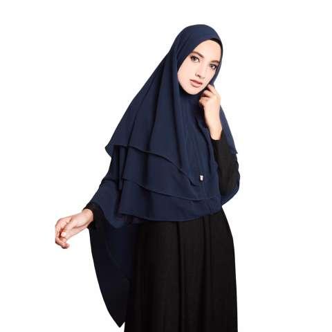 harga jilbab instan khimar syari sabrina 3 layer hijab navy harga rp