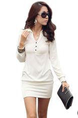 Sajak Perempuan Di Titik Tombol Kerah Differences Bagian Pinggul Ramping Lengan Baju Panjang Tas Mini Dress S-XL (Putih)