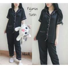 JJ.Store pakaian baju tidur model piyama satin celana panjang warna hitam