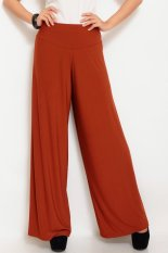 JO & NIC Jersey Wide Pants - Kulot Panjang Wanita - Merah Bata