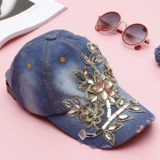 Jo. Dalam Mode Topi Bisbol Dapat Disesuaikan Topi Bisbol Jean Santai Bunga Rhinestones untuk Wanita-Intl