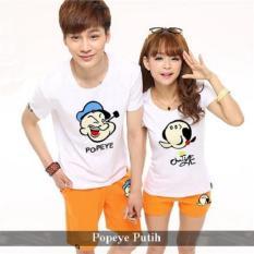 Jual Couple Baju Kaos Pasangan Murah Kaos Couple Popeye putih .