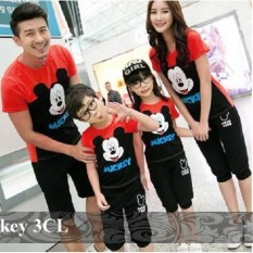 Jual Couple Family - Kaos Keluarga Murah - Couple - 2 anak - Mickey 3Cl MERAH