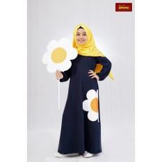 Jubah Anak Dannis Baju Muslim Sarimbit Eggy Flower - Biru Dongker - Bunga