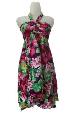 Kampung Souvenir - Dress Balon Bali Green Flowers - Pink
