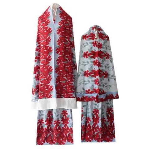 Kampung Souvenir - Mukena Couple Rempel - Red Flowers