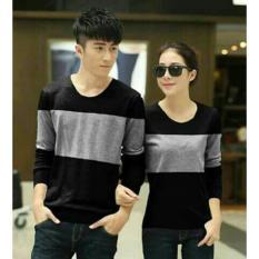 UC Kaos Couple Pria Wanita lengan Panjang / Kaos Polos / T Shirt Wanita Spandek / Bagus Sepasang (otw neto) NR - Hitam Abu D3C