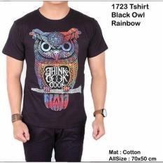 (KAOS OWL) - Kaos pria lengan pendek hitam black owl / baju kaos distro pendek slim
