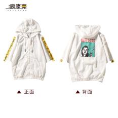 Kebugaran Korea Fashion Style Huruf Pita Senam Lengan Pendek Jaket Hoodie Baju Pelindung Matahari (3215 Di Belakang Kepala Orang Putih)