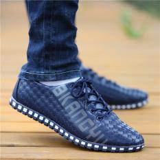 Kebugaran Pria Musim Semi Dan Musim Gugur Baru Sepatu Trendi Kasual Sepatu Kulit (F50 Biru)