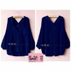 Kedai_Baju Blouse Wanita Eriya / Blouse Cewek / Shirt Wanita / Blouse Japan Style / Blouse Modern / Sabrina Wanita  NR - Navy