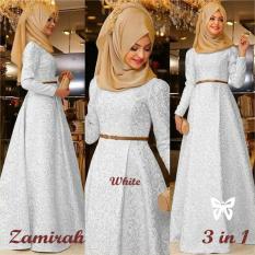 Kedai_Baju Pakaian Muslim / Baju Muslim Murah Syari Hijab / Gamis Zamirah Putih