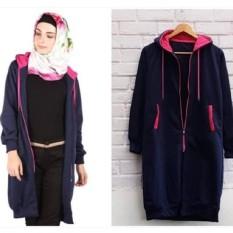 KEI'S jaket sweater wanita long hodie zipper navy fashion hijab termurah