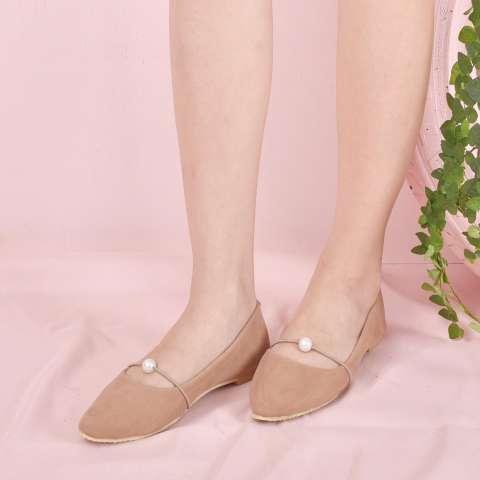 Bebbishoes-Daisy Pearl Flatshoes-Cream