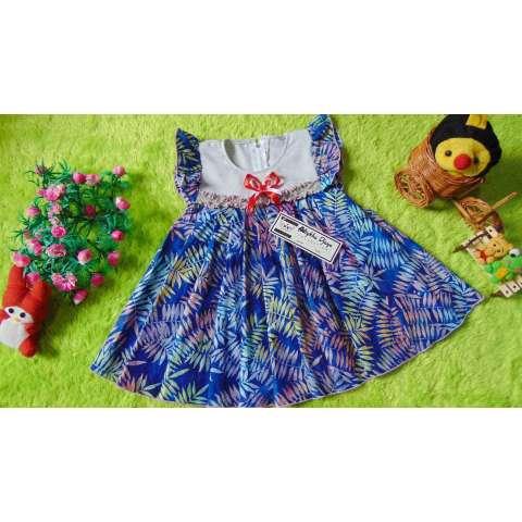 kembarshop - baju pesta dress baju bayi perempuan 1-2th lembut Batik Cap Biru