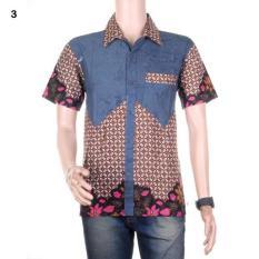 Kemeja Batik  Hem Batik Kombinasi Dengan Saku Paspol Winata - Motif 3
