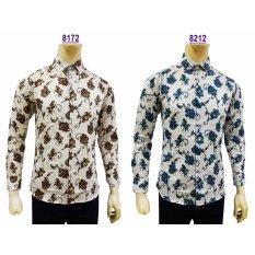 Kemeja Batik Pria Slimfit 8212 [Turquoise] Koko Kombinasi Muslim Jeans
