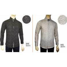 Kemeja Batik Slimfit Pria 8449 [Black] Kombinasi Muslim Koko Jeans