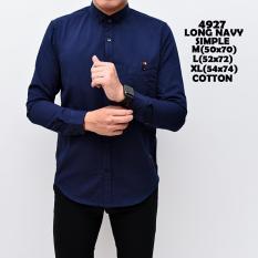Kemeja Kasual Pria Kemeja Kerja Kemeja Kantor - Long Navy Simple Cotton 4927 Cotton - Kemeja Polos Lengan Panjang