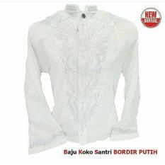 Kemeja Takwa Lengan Panjang - Warna Putih - Bordir - Merk Santri - Katun Polinosik Halus