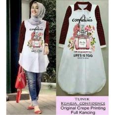 Kemeja Tunik Wanita Polos Confi lengan Panjang / Baju terusan / Long Hem / Dress Muslim / Hijab Tanpa Pasmina (nfidenceco) NR - Merah