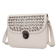 KGS Tas Selempang Wanita Impor Casual Croco Metal Dots Mini Satchel Bag - Putih