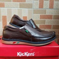Kickers Sepatu Pria slip on Kulit jeruk Asli Model KS 4458 coklat