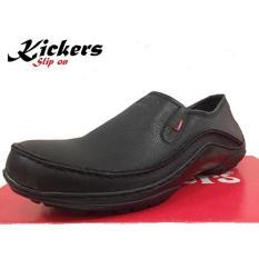 Kickers Sepatu Slip on Boots Pria Kulit Asli - Black kulit jeruk