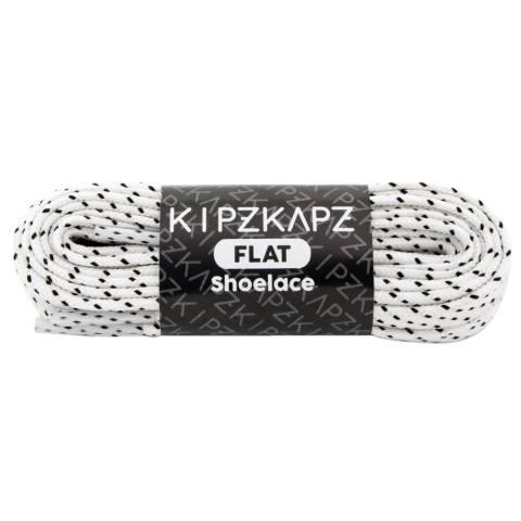 KipzKapz FS57 White Black Stripes 140cm - Tali Sepatu Pipih / Flat Shoelace