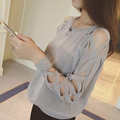 Rajutan Baju Kaos Warna Perempuan Wanita Korea Jatuh Lengan Panjang T-shirt All-Match Tide Kecil Shirt Women Wear (Grey) -Intl 2