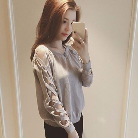 Rajutan Baju Kaos Warna Perempuan Wanita Korea Jatuh Lengan Panjang T-shirt All-Match Tide Kecil Shirt Women Wear (Grey) -Intl 1
