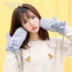 Korea Fashion Style Benang Rajut Perempuan Musim Gugur Dan Dingin Sarung Tangan ([Bola Bulu Tas Mengacu Pada] Abu-abu)