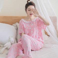 Korea Fashion Style Katun Sutra Perempuan Bagian Tipis Kasual Layanan Rumah Baju Tidur (Pendek Panjang Kelinci Kecil Cahaya Merah Muda)