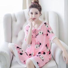 Korea Fashion Style Katun Sutra Perempuan Bagian Tipis Katun Baju Tidur Gaun Tidur (Rok Mulut Kucing Bedak)