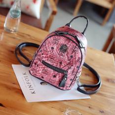 Korea Fashion Style Motif Kulit Ular Siswa Mini Tas Ransel Tas Ransel (Merah)