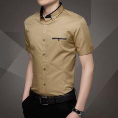 Korea Fashion Style Pria Lengan Pendek Slim Bisnis Profesi Kemeja Putih Kemeja (Orang Kaya) baju atasan kaos pria kemeja pria