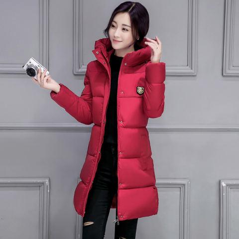 Korea Fashion Style warna solid perempuan musim dingin berkerudung jas empuk bawah Merah OE427FAAAUT2H4ANID 69682063