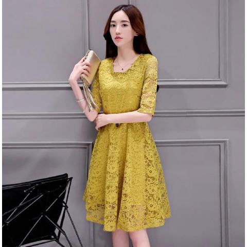 Versi Korea Wanita Lace, Grounding Dress, Kultivasi Diri Rok Midi Gaun Plus Ukuran