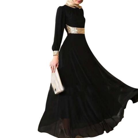 Kuhong Wanita Kaftan Abaya Jilbab Islam Muslim Lengan Panjang Cocktail Maxi Pesta Gaun-Intl 1
