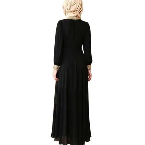 Kuhong Wanita Kaftan Abaya Jilbab Islam Muslim Lengan Panjang Cocktail Maxi Pesta Gaun-Intl 2