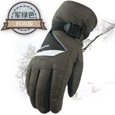 Laki-laki Yang Hangat Tahan Angin Tahan Air Pria Sarung Tangan Main Ski Sarung Tangan ([Modis Versi] Hijau Tentara Warna)