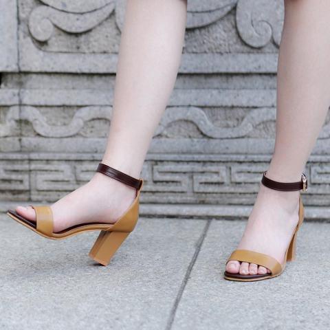 Sepatu Bertumit Wanita Sandal Ikan Mulut Tinggi (coklat) LALANG-Intl