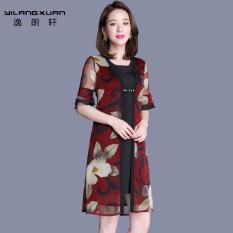 YILANGXUAN Gaun Terusan Wanita Sifon Tank-top Motif Cetak Satu Set Dua Helai (Berwarna merah keunguan)