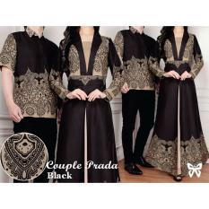 LF Batik Couple / Kemeja Muslim / Gaun Dress Maxi Muslim / Gamis Syari Syar'i pasangan (ADAPR) SS - Hitam D2C