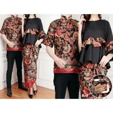 LF Couple Baju Batik Couple Kebaya Kutu Baru Kemeja Pria Modern (namayalu) 7T - MAROON / Kebaya Modern / Dress Gamis Pesta / Kemeja lengan pendek / Pakaian Muslim