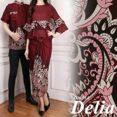 LF Kemeja Pria Traditional Couple / Gamis Muslim / Kebaya Dress Wanita Batik Pasangan/ Set Muslim (liade) AK - Coklat