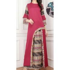 LF Jumpsuit Setelan Batik Wanita Cantik Muslim Luci / Set Baju Dan celana Muslim Muslimah  AK (renamo) - Maroon D2C