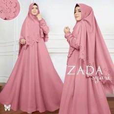 LF Maxi Gamis Dress muslim Zad/ Set Terusan Maxi Hijab Gamis Syar'i / Syari Simple Elegant / Baju Muslim Wanita / Kebaya Modern Balotelli (Daza) SS - Dusty Pink D2C
