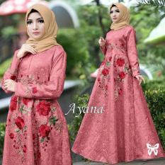 LFS Gamis Muslimah Iyana/ Set Terusan Maxi / Syari Simple Elegant / Baju Muslim Wanita / Kebaya Modern Baloteli Tanpa Pasmina (anaay) SS - Dusty Pink