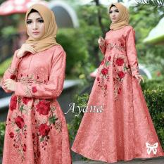 LFS Gamis Muslimah Iyana/ Set Terusan Maxi / Syari Simple Elegant / Baju Muslim Wanita / Kebaya Modern Baloteli Tanpa Pasmina (anaay) SS - Peach